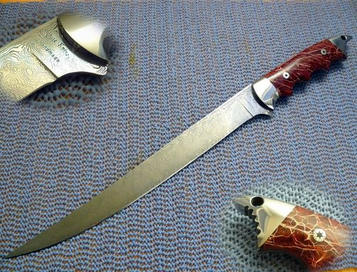 "Custom Made Damascus ""Sharky"" Cactus Fillet Knife"