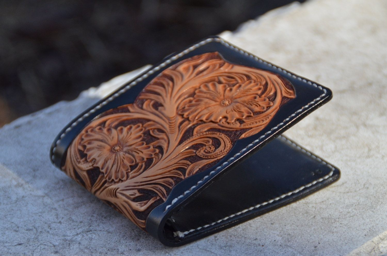 Handmade all hand made carved leather wallet by