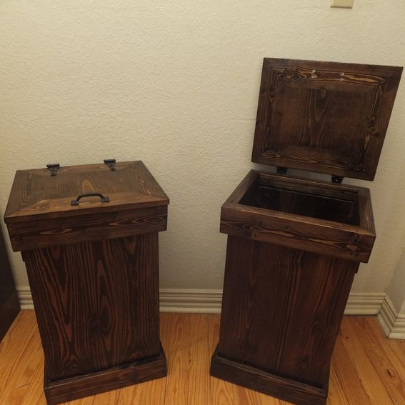Buy A Hand Crafted Rustic Wood Trash Can Made To Order