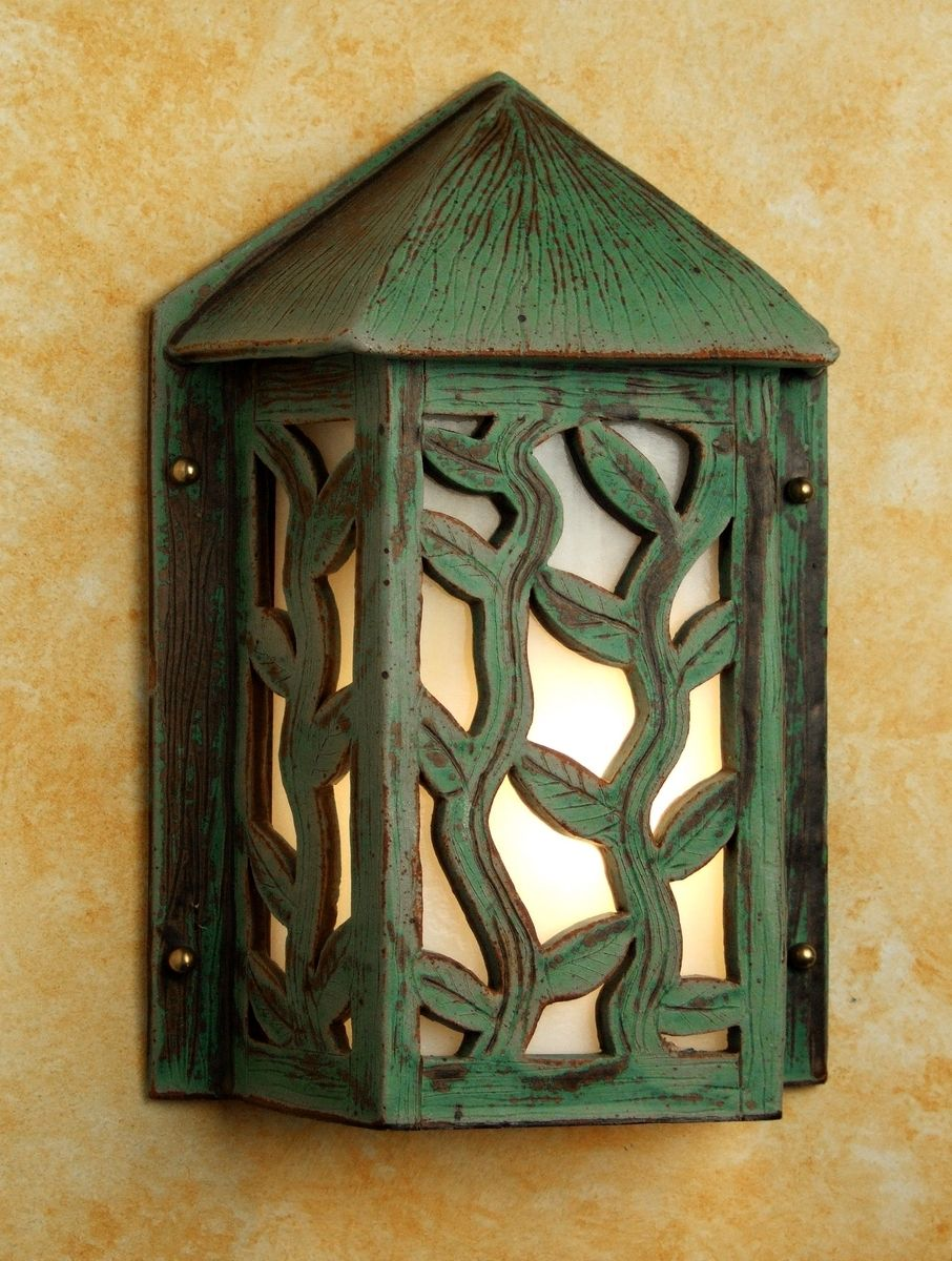 Wall Sconces With Vines : Hand Made Green Ceramic