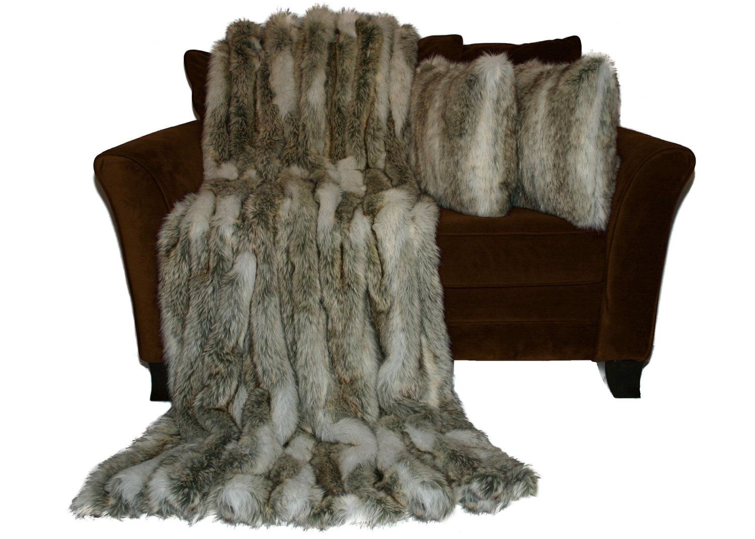 Faux Fur Throw And Pillow Set : Custom Premium 60x84 Canadian Fox Stone Faux Fur Throw Blanket And 18x18 Decorative Pillow Set ...