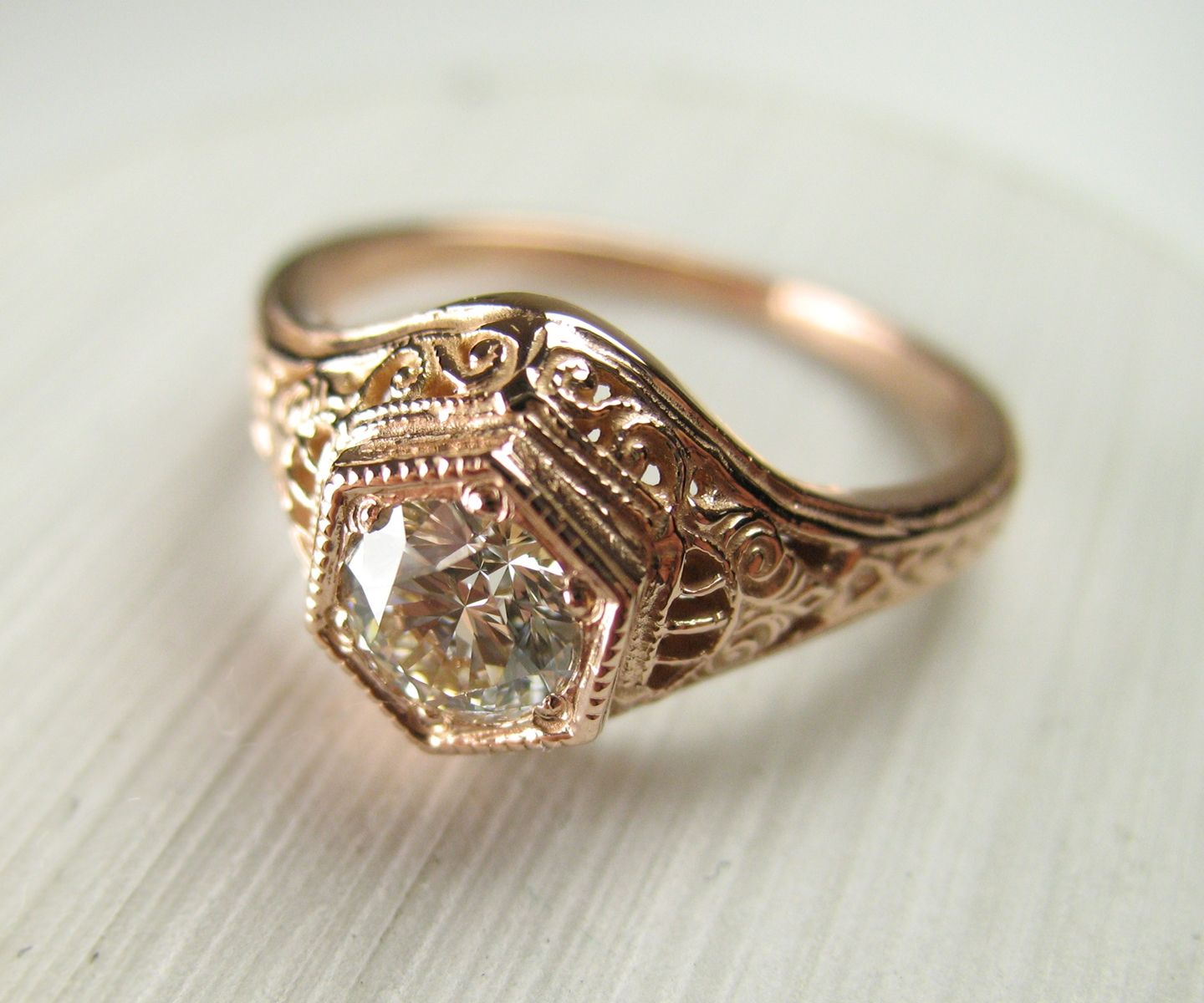 Buy A Hand Crafted Filigree Antique Vintage Engagement