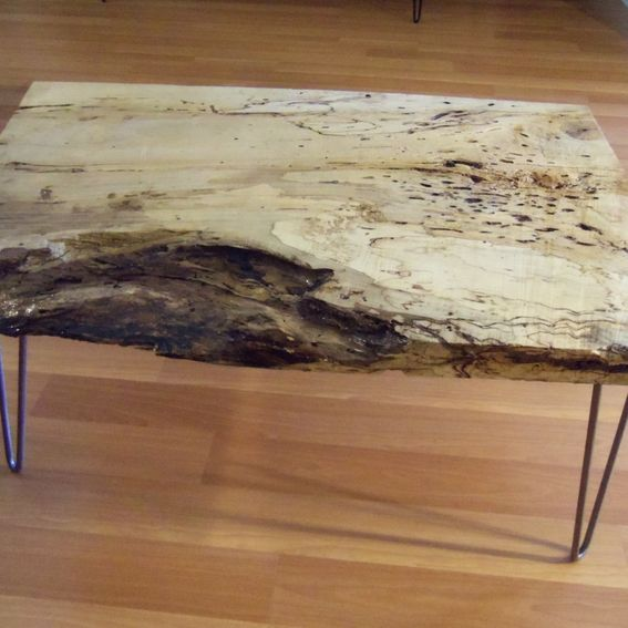 Live Edge Square Coffee Table: Hand Made Live Edge Spalted Maple Square Coffee Table By