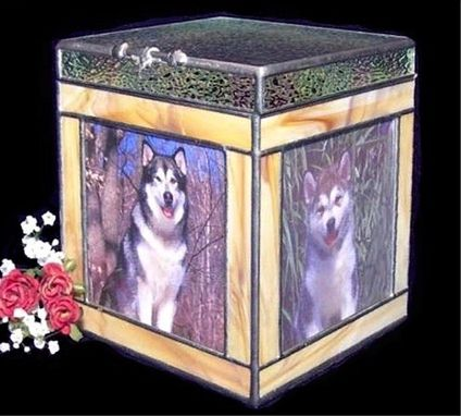 Custom Made Stained Glass 3 Photo Pet Cremation Urn