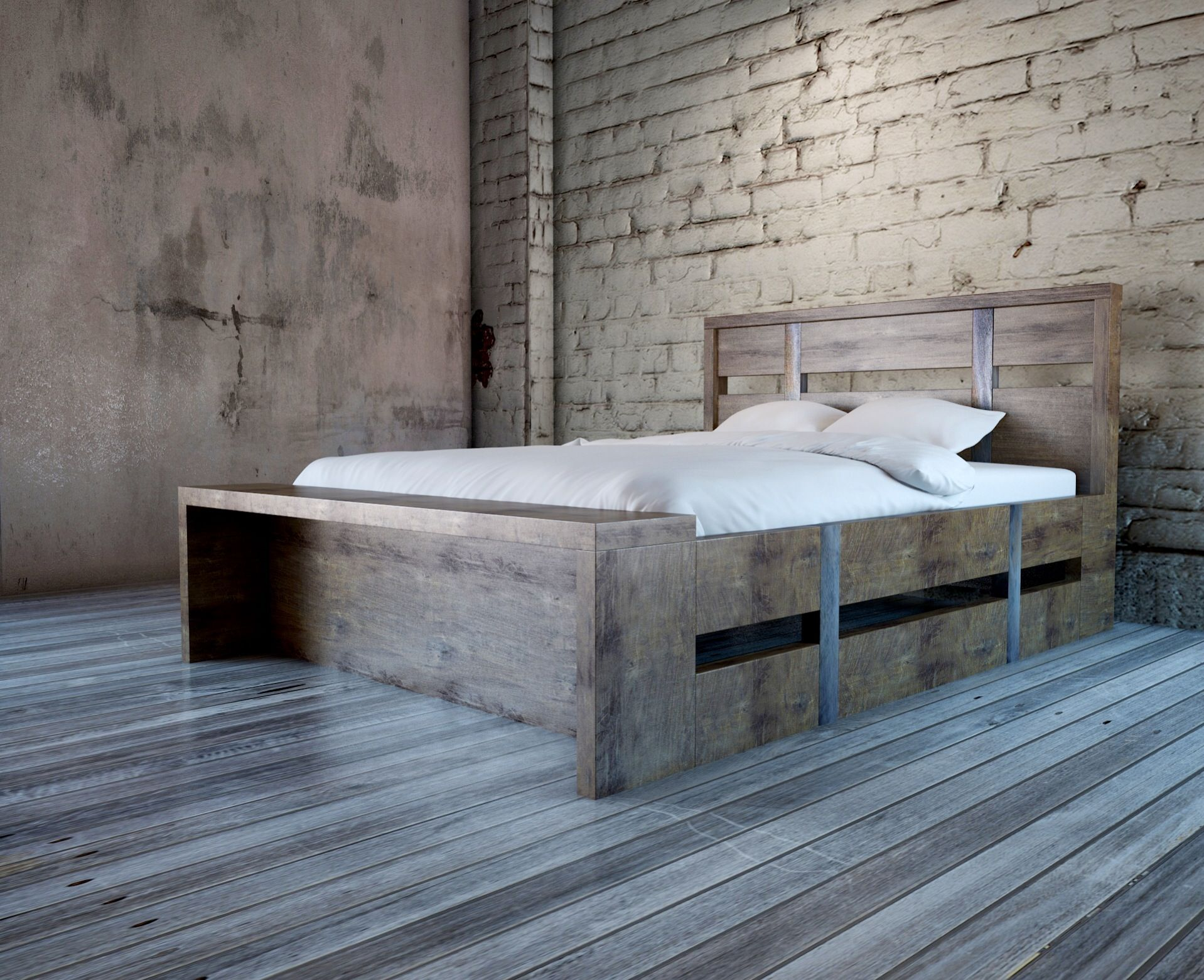 Handmade Steel Belt Bed With Build In Bench By