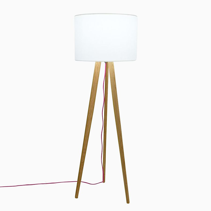 Solid Oak Mid Century Modern Tripod Floor Lamp With Pink Cord