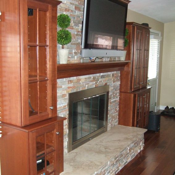 Cabinets And Fireplace Surrounds: Hand Crafted Mantel, Crown Molding, Stone Fireplace