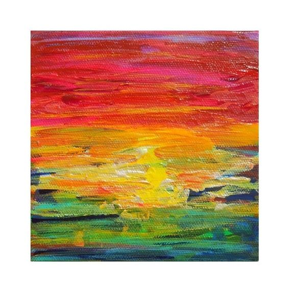 Hand Crafted Ombre Rainbow Sunset Painting By Precious
