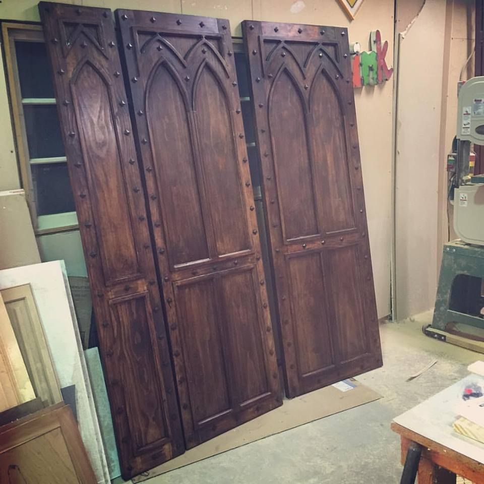 Custom made gothic style rustic doors by george hallak for Custom made doors