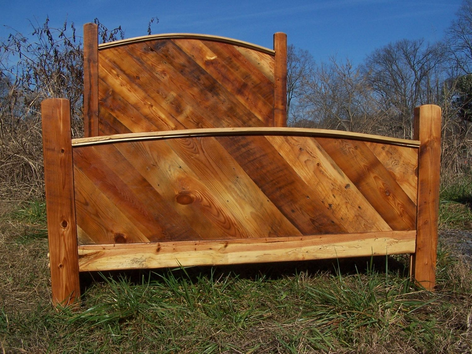 Buy a hand crafted custom bed frame made from reclaimed for Custom made bed frame