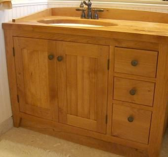 Custom solid wood shaker vanity by daedalus - Unfinished shaker bathroom vanity ...