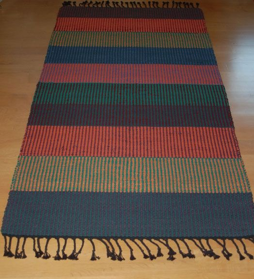 Custom Hand-Woven Striped Rug By Tarja Cockell