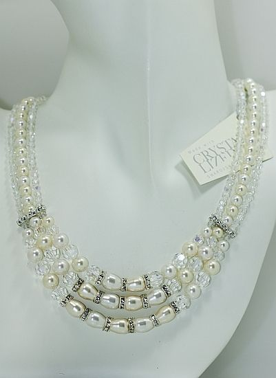 Hand Crafted Classic Swarovski Pearl And Crystal Tripel