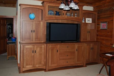 Hand made white oak tv entertainment center by ks - Made com meuble tv ...