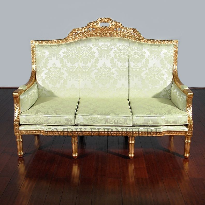 handmade 6ft wide solid mahogany gold french 3 seat couch. Black Bedroom Furniture Sets. Home Design Ideas