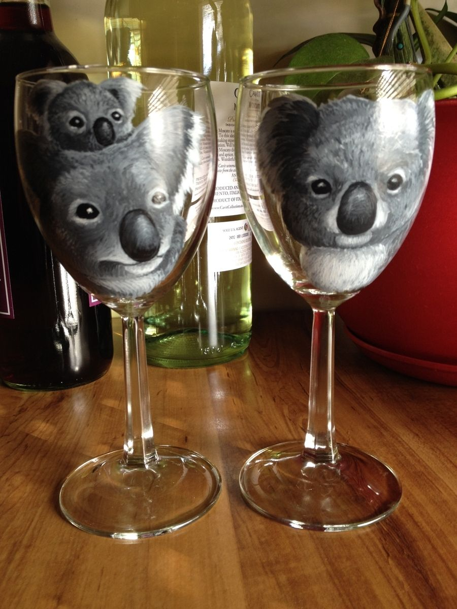 Custom made hand painted wine glasses by art by shanna for Hand designed wine glasses