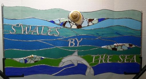 Custom Made Stained Glass Window Hanging - Sea Glass, Dolphin And Sea Shells