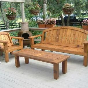 Red Cedar Outdoor Bench Unit by
