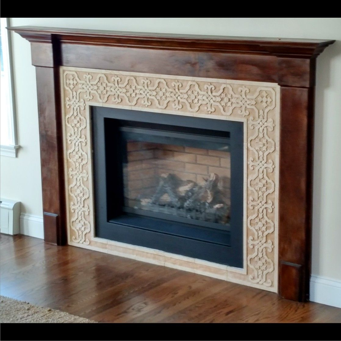 custom made carved marble tile fireplace surround by artisan fabricating inc. Black Bedroom Furniture Sets. Home Design Ideas