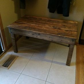 Hand Made Reclaimed Redwood And Black Pipe End Table By