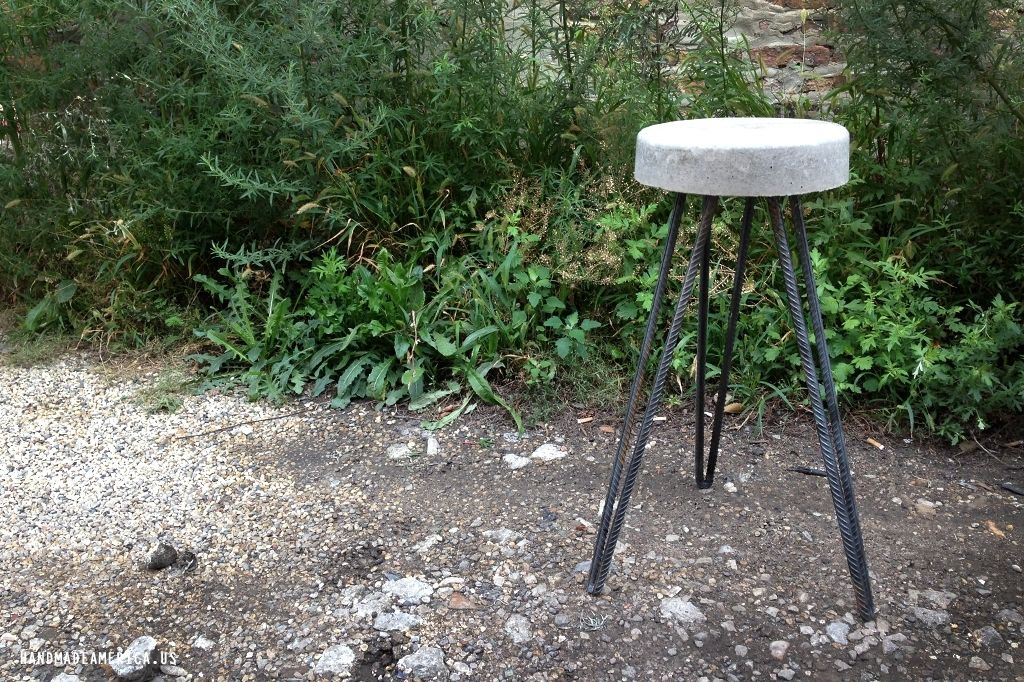 Hand Crafted Concrete Bucket Stool By Handmade America