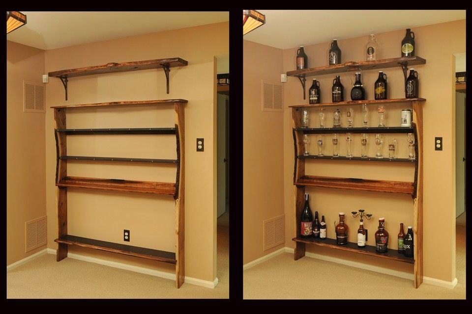 hand made custom shelf unit for bar memorabilia by