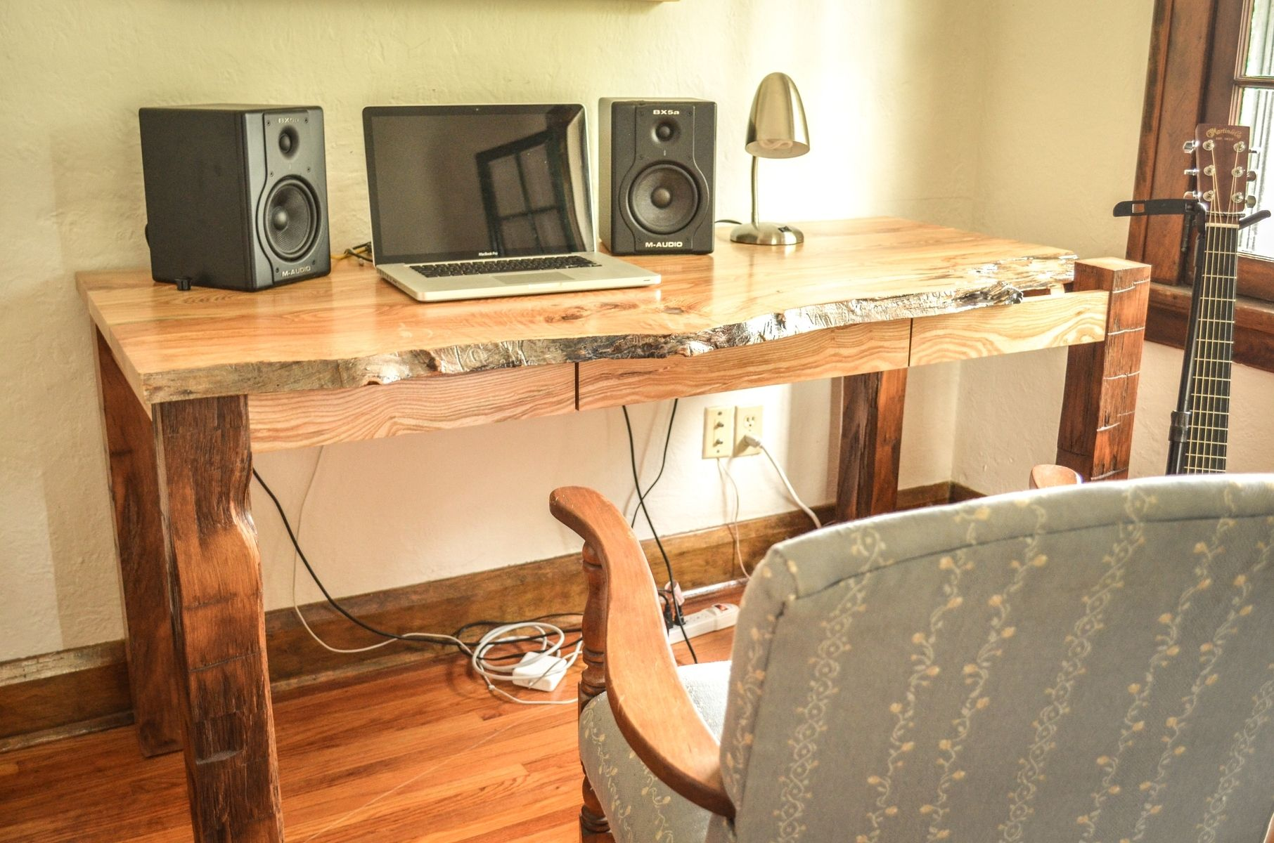 Rustic Americana Hardwood Executive Desk Home Office: Hand Crafted Live Edge Ash Desk By Heritage Wood Co