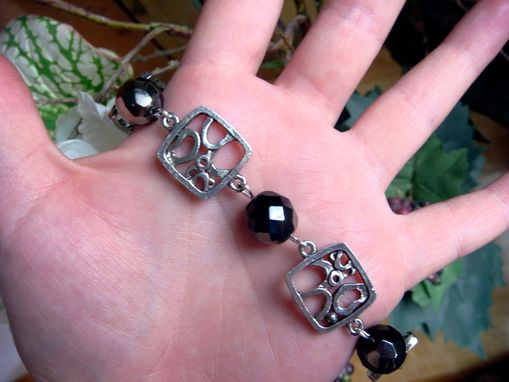 Custom Made Simone Black And Silver Czech Glass Bracelet