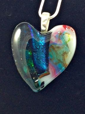 Custom Made Fused Dichroic Glass Necklace Statement Jewelry Pink Blue Green Heart 66