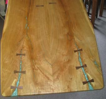 Custom Made Slab-Style, Natural Edge Cherry Dining Table