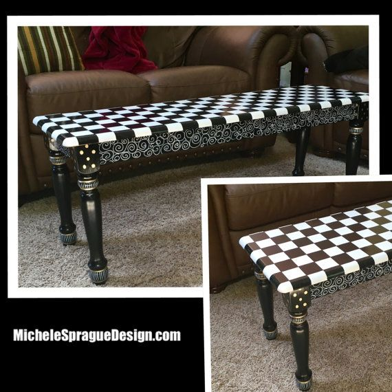 Hand Made Hand Painted Black And White Farmhouse Bench By