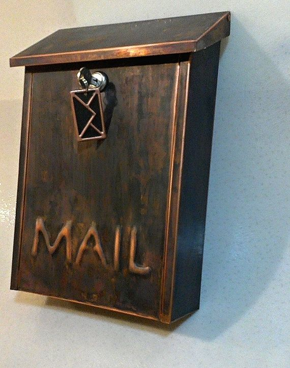 Hand Made Wall Mount Patina Copper Mailbox By Copperdesign