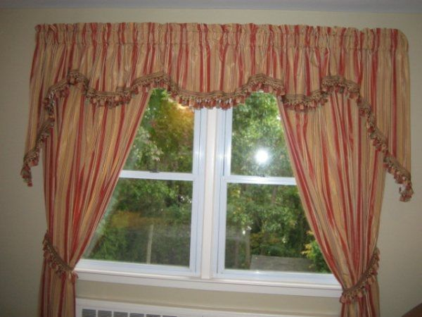 Custom Made Swag Curtains With Two Side Panels, Fringe