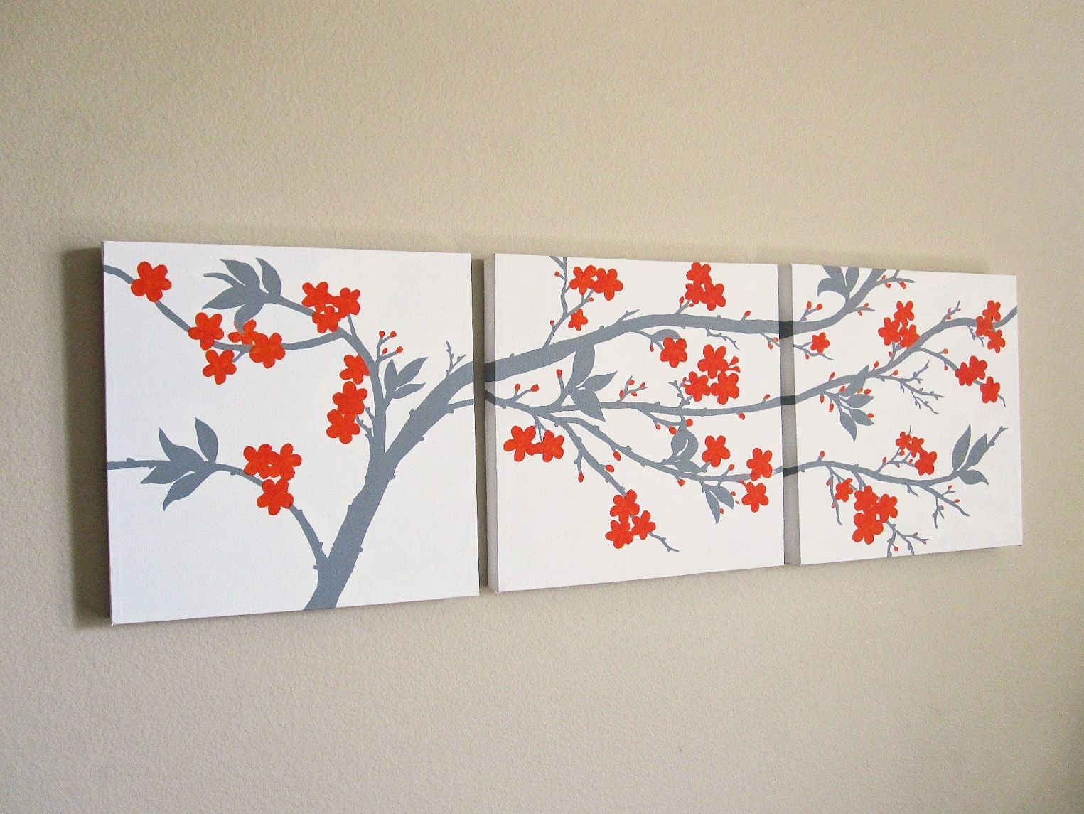 Hand crafted orange and grey cherry blossom triptych for Canvas painting of cherry blossoms