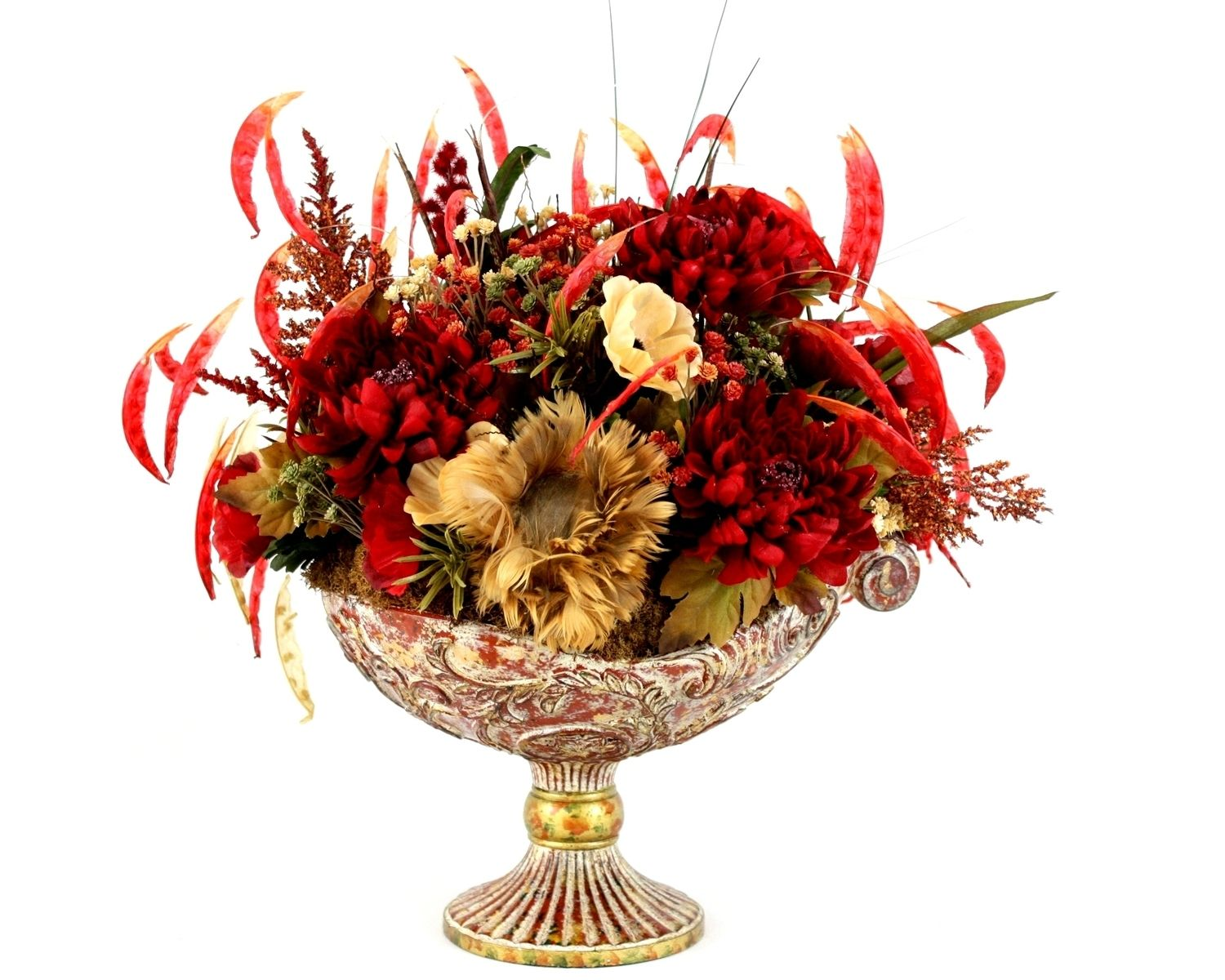 Hand Crafted Dining Table Centerpiece Silk Flower Arrangement Home Decor Dining Room Decor By