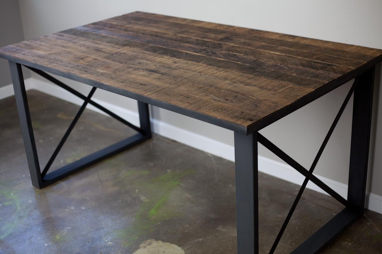 Buy a handmade distressed urban dining table desk made to for Metal desk with wood top