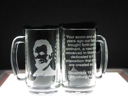Custom Made Etched Glass Mug Abraham Lincoln