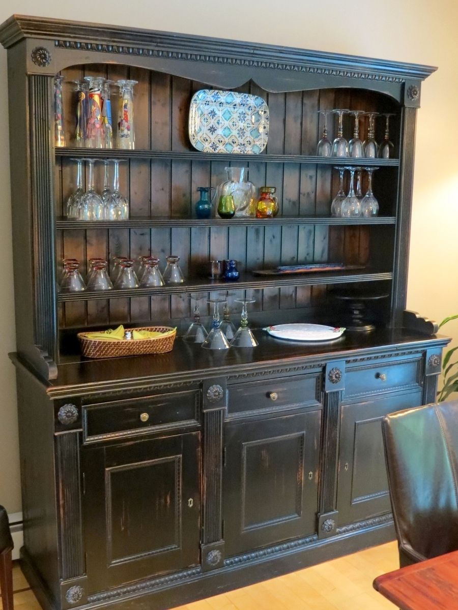Hand crafted custom black rustic china cabinet from - Custom made cabinet ...