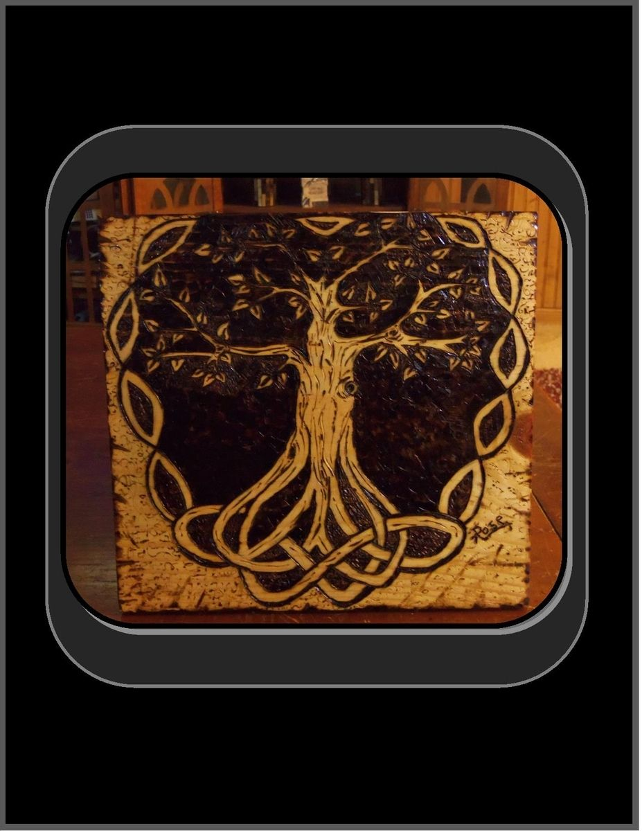 Hand Made Celtic Knot Tree Of Life Pyrography Tree Of