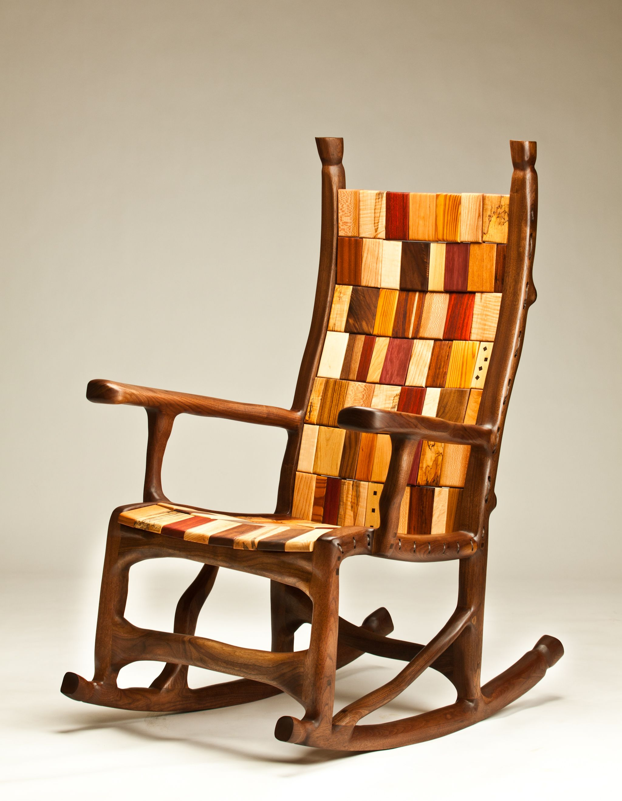 Handmade Walnut Rope And Block Rocking Chair By Darin: what are chairs made of