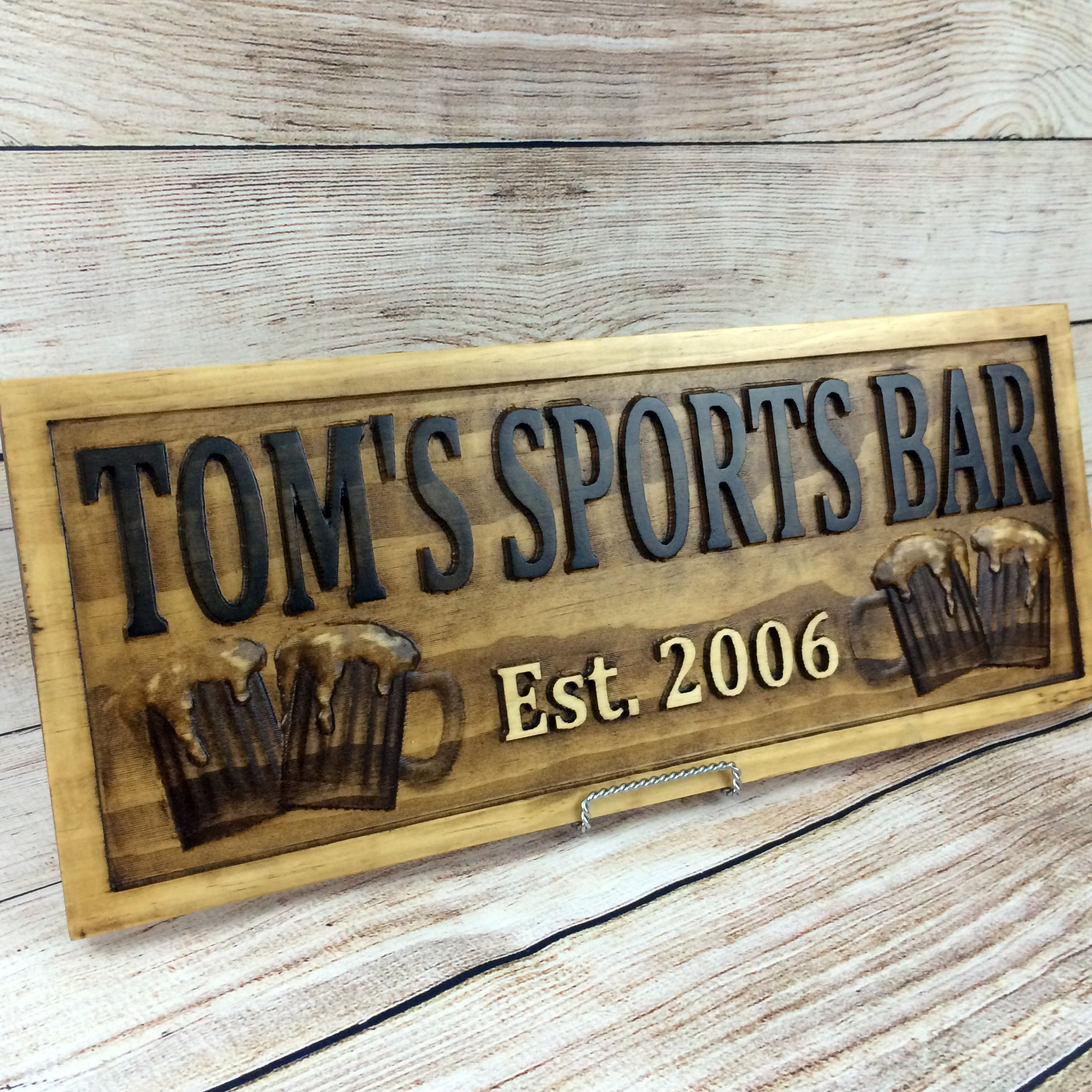 Rustic Motors 3d Custom Made Jewelry Home: Buy A Hand Crafted Home Bar Sign Man Cave Custom Wood Sign