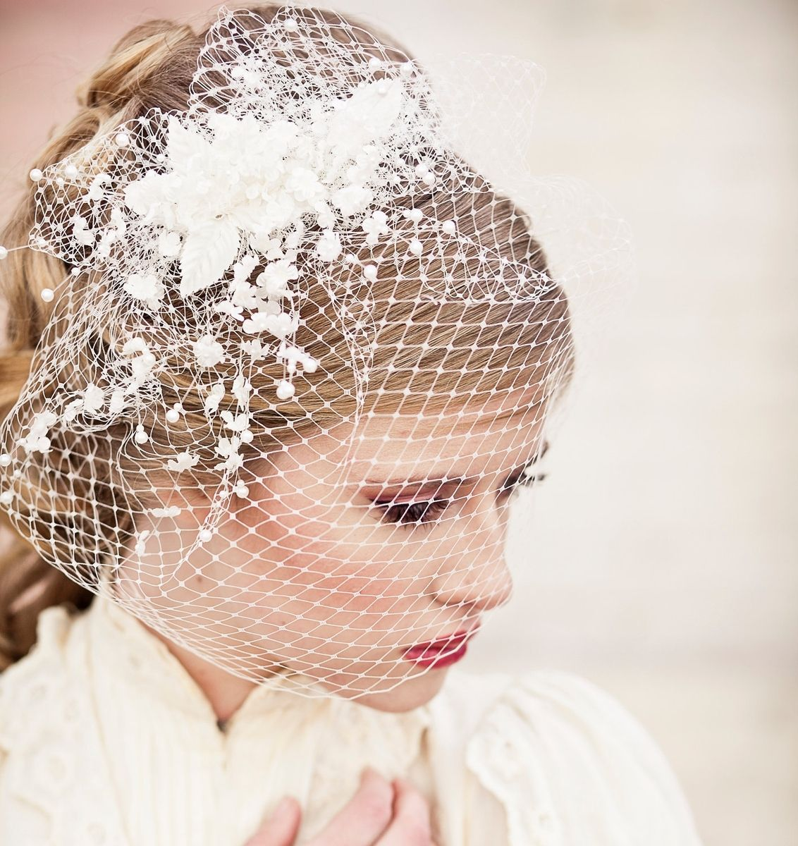 Wedding Hairstyles With Headpieces: Hand Crafted Birdcage Veil With Vintage Flower Spray