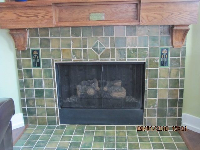 custom craftsman fireplace surround by cottage crafts tile