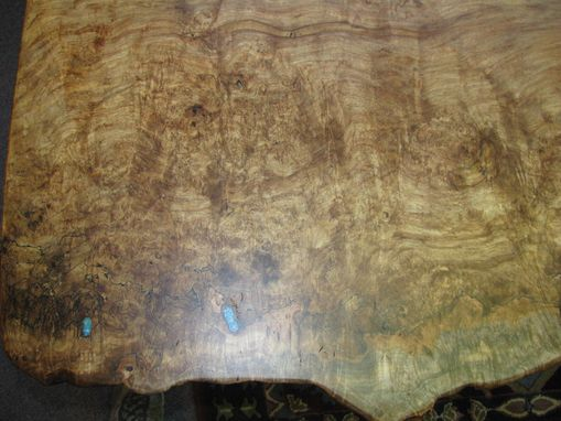 Custom Made Red Maple Live Edge Burl Single Slab Dining Table
