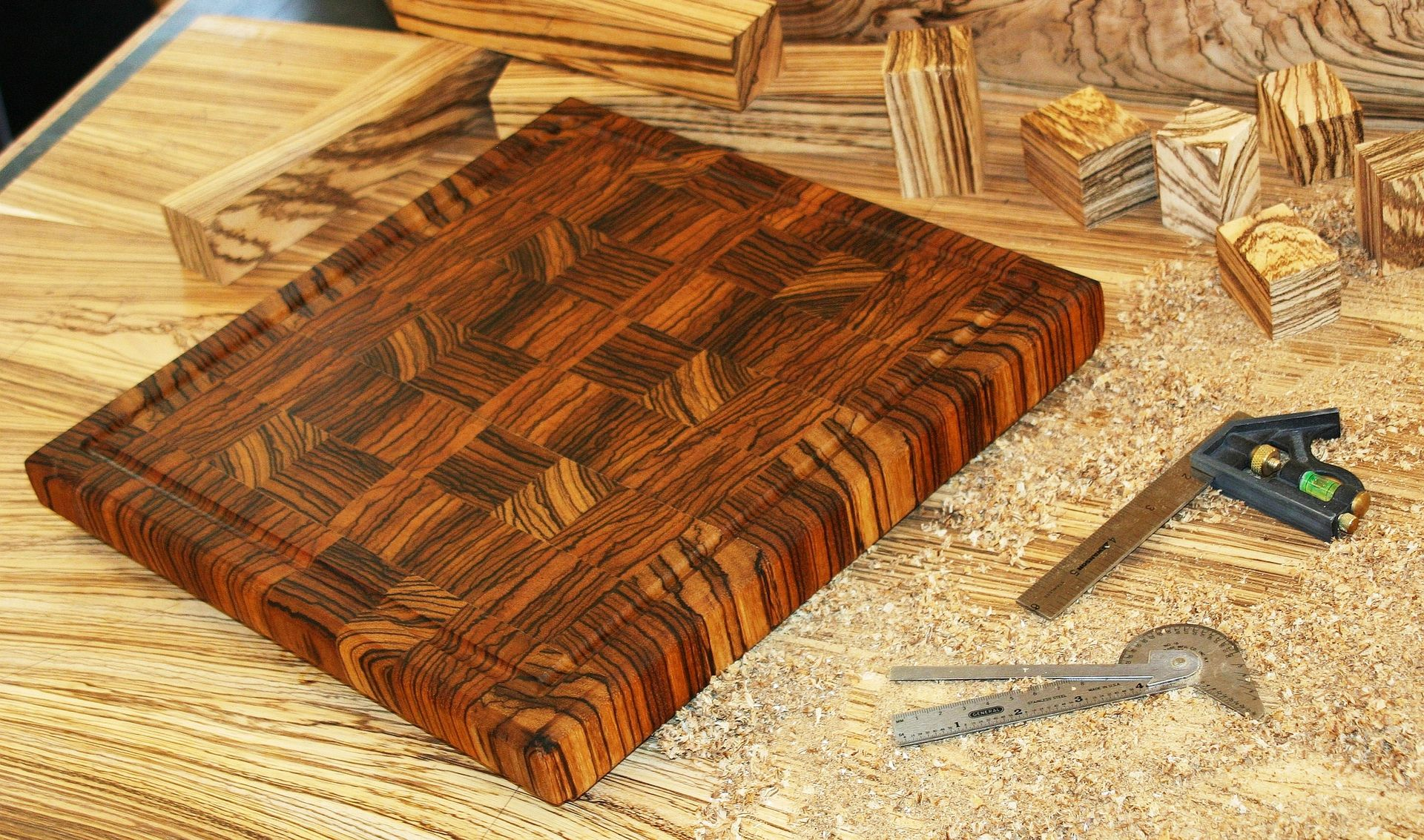Hand made zebrawood end grain cutting board by carolina for Cutting board designs
