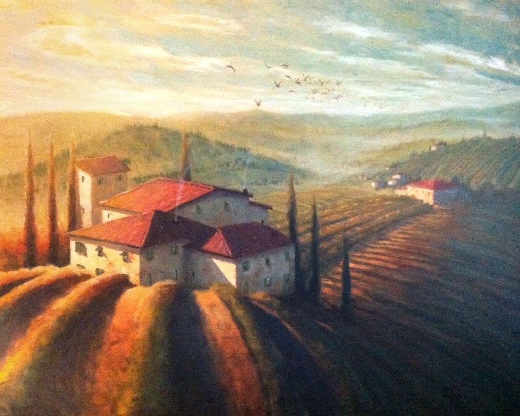Hand Made Custom Tuscan Landscape Painting By Christopher