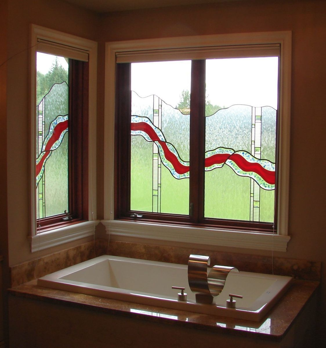 Hand crafted fused glass window by relkie art glass for Custom transom windows
