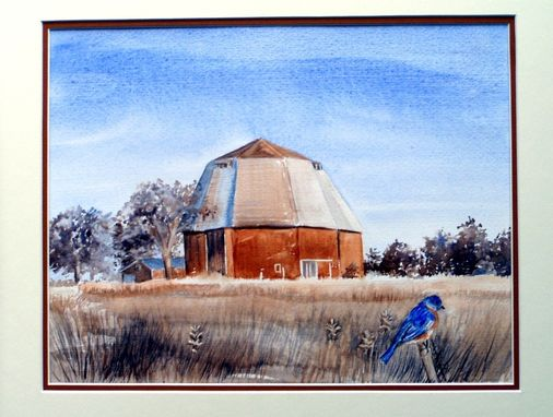 Custom Made Watercolor Original Painting Of Michigan Octagon Barn