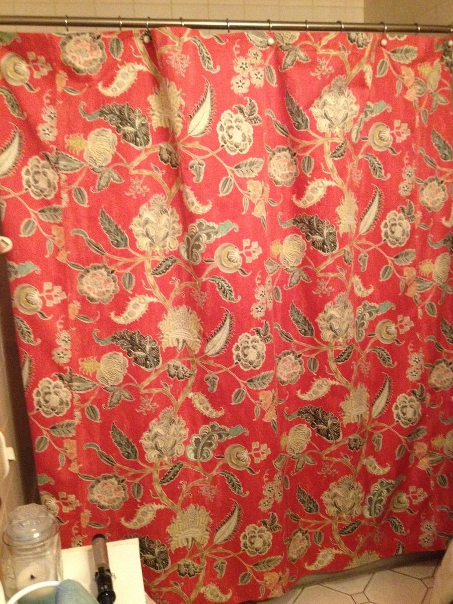 Hand made shower curtains by under the dining room table custommade