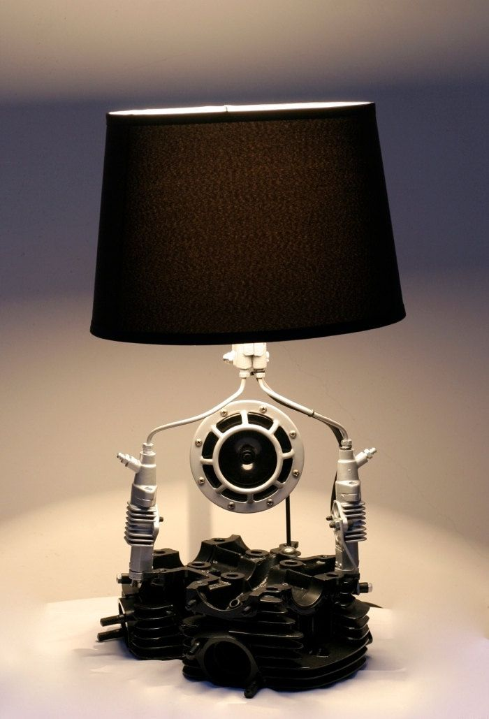 Custom Cylinder Head Table Lamp By Taylor Crittenden